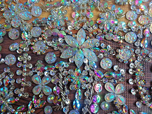 Hand Made Crystals Trim Patches Clear AB Colour Sew on Rhinestones Applique 48X32cm for Top Dress Skirt DIY Accessory