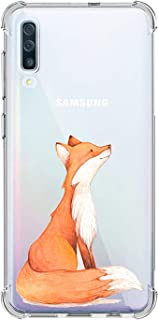 Oihxse Compatible with Samsung Galaxy J7 Pro/J730 Case Slim Fit Crystal Clear Transparent with Cute Cartoon Design Back Cover, Soft Silicone [Air Cushion] Drop Proof Shockproof TPU Bumper Skin-Fox