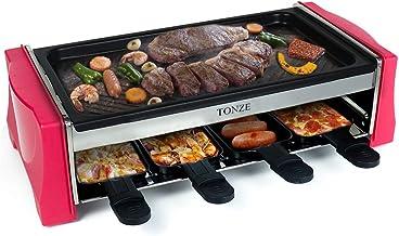 Appareil a Raclette 8 Personnes - Machine a Raclette Grill avec 8 Poêlons Antiadhésif 1 Spatule Raclette Bois Revêtement A...