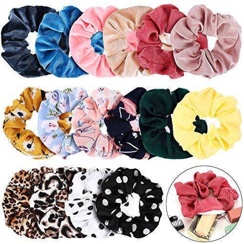 16 Pieces Velvet Pocket Hair Scrunchies Hidden Pocket Satin Elastic Hair Ties Flowers Leopard Print Hair Bands with Zipper Pocket for Women Girls Hair Accessories