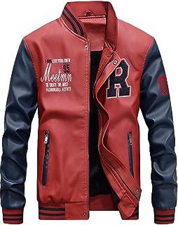 Mordenmiss Men's Basic Leather Letter Man Baseball Varsity Jacket Bomber Outwear