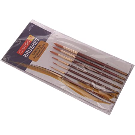 Camel Paint Brush Series 66 - Round Synthetic Gold, Set of 7