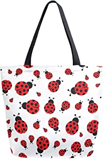ZzWwR Fresh Ladybug Pattern Extra Large Canvas Beach Travel Reusable Grocery Shopping Tote Bag Market Portable Storage Han...