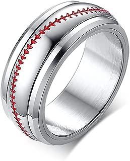 TIANYI 8MM Stainless Steel Spinner Rings Men Women Promise Ring Baseball Team Sport Ring
