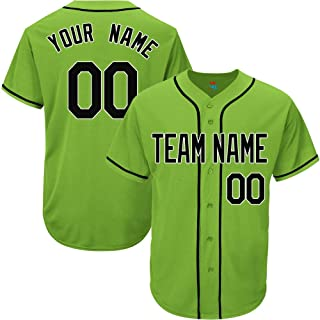 Light Green Custom Baseball Jersey for Men Women Youth Replica Embroidered Team Name & Numbers S-5XL Black White