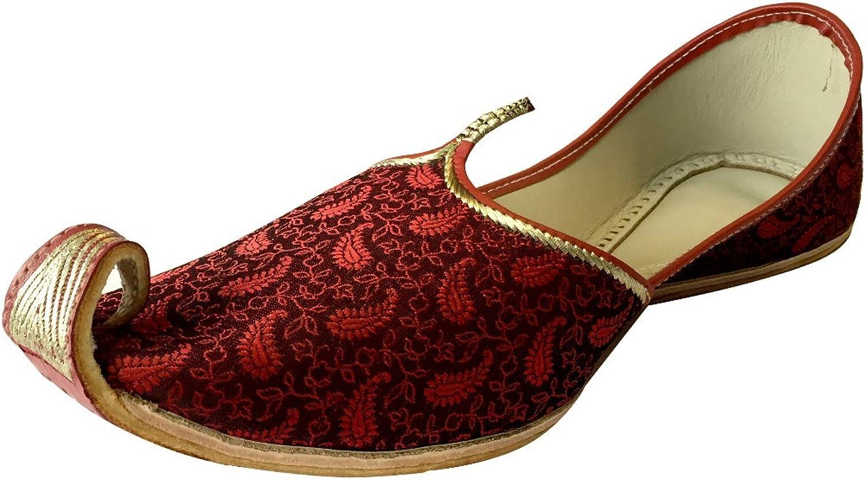 Step n Style Men's Mehroon Khussa shoes Punjabi Jutti Indian Ethnic Mojari Pakistani Wedding shoes