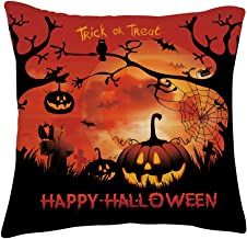 TUONROAD Soft Fleecy Velvet Pillowcase Vintage Original Pumpkin Bat Trees Graphic Brightly Color Cushion Happy Halloween Trick OR Treat Dreadful Theme Home Decor for Holiday Car Sofa Bay Window Cafe