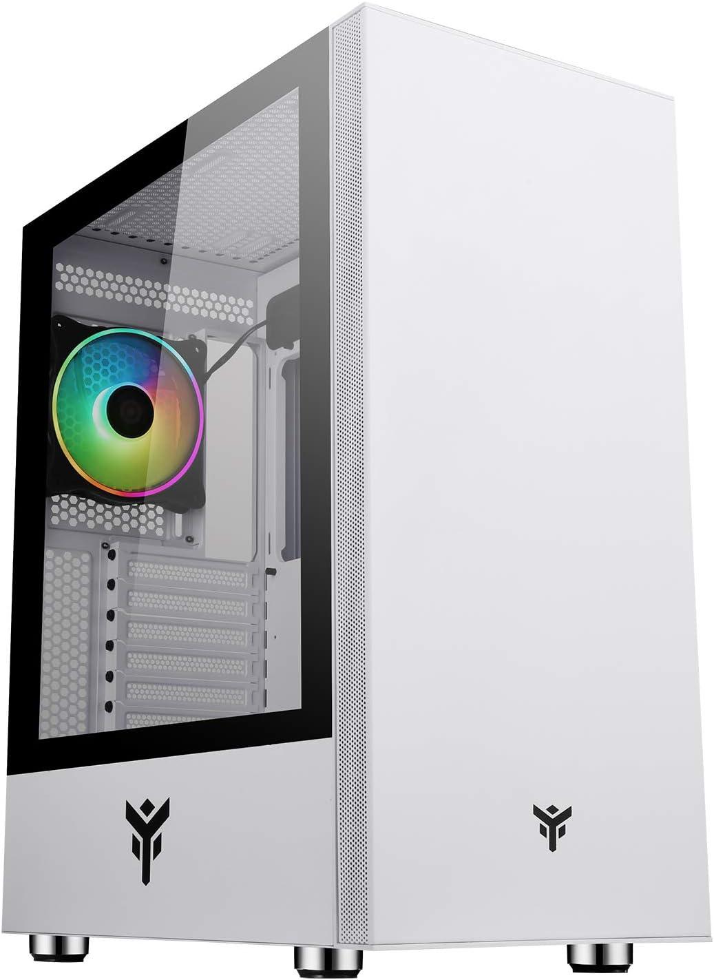 Case Itek Vertibra S210W - Torre de Juegos Middle Tower, 12 cm ARGB, 2 x USB3, Side Panel Temp Glass, White Edition