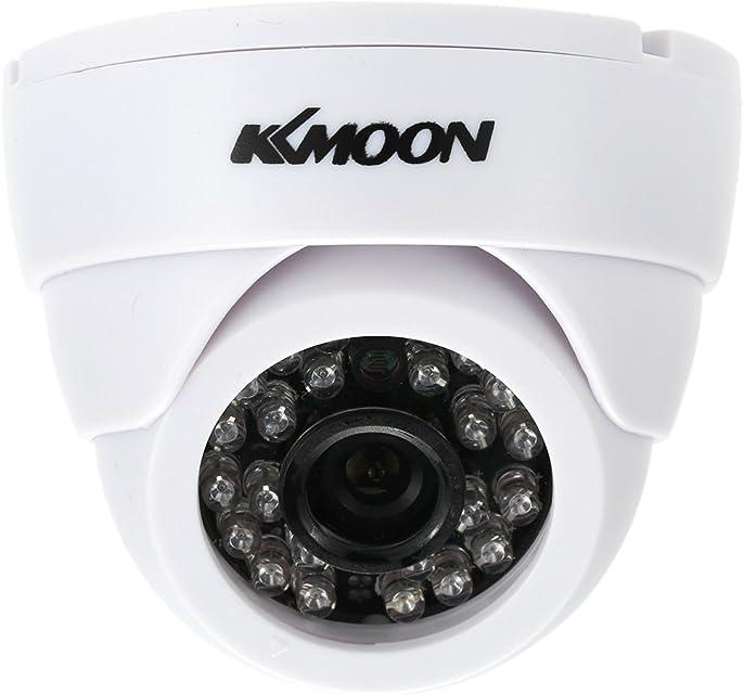 KKmoon HD 1200TVL Cámara de Vigilancia en Domo 1/3 CMOS IR-Cut CCTV Sistema de Seguridad Indoor Visión Nocturna PAL Color Blanco/Negro