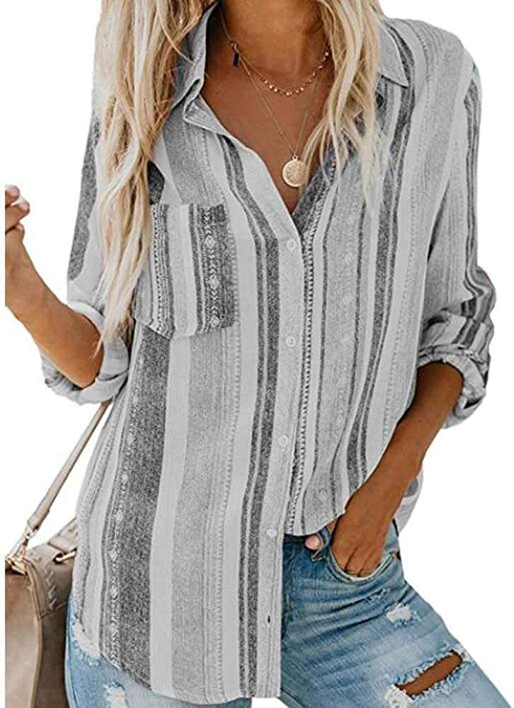 Beautife Womens V Neck Striped Button Down Collared Roll up Sleeve Casual Tunic Shirt Blouse Tops