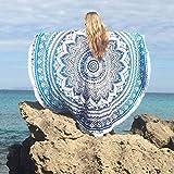 Mandala Handicrafts Quasten Quasten Runde Strandtuch Strand Yoga Matte Schal Schaldurchmesser 150cm Tapisserie Chiffon Tischdecke Picknick Deckenschal (grün)