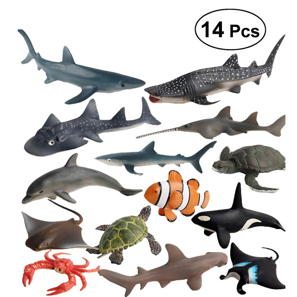 Yeahibaby Conjunto de Juguetes para Animales Mini Sea - Figuras de Animales Marinos Modelo de Juguetes para niños - Paquete de 14: Amazon.es: Juguetes y juegos