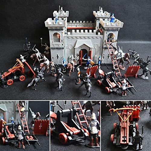 Selbstmontiertes Schloss Modell Set, DIY Schlossbau Mittelalter Zeiten Militär Kunststoff Fort Modellbausatz Set mit Figuren Soldat Ritter Simuliert Siege Krieg der Angriffszeit