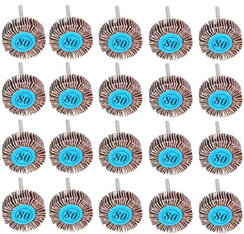 LATERN 20 Stücke Fächerschleifer, 80 Körnung Polierscheibe für Schleifpapier 10mm Dremel Klappenrad für rotierendes Werkzeug