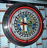 Neon CLOCK Old Alfa Romeo Milano - Reloj de neón, color roj