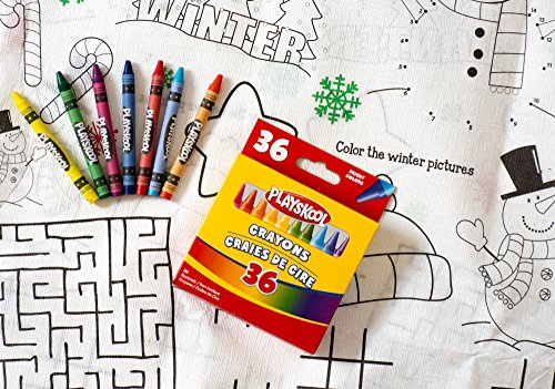 Combined Brands Kids Color-on Christmas Tablecloth And Crayons Bundle: 1tovaglia, 1Scatola 36pastelli