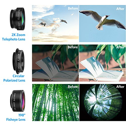 Criacr Phone Camera Lens, 2X Zoom Lens for iPhone 7, 198° Fisheye Lens, 0.63X Angle Lens and 15X Macro Lens (Attached Together), Circular Polarized Telephoto Lens 5 in 1 for iPhone 8, Smartphones