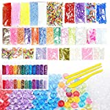 EONAZE Kit de slime, herramientas para regalo para niños, incluyen cuentas de cristal de pecera, bolas de espuma, caramelos de espuma, purpurina, confeti, bolas de espuma