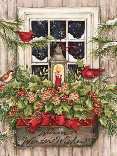 LANG 1004688 -'Window Box Snow', Boxed Christmas Cards, Artwork by Susan Winget' - 18 Cards, 19 envelopes - 5.375' x 6.875'