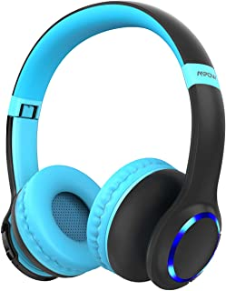Mpow CH9 Kids Bluetooth Headphones with Microphone & LED Light, Bluetooth 5.0, 15Hours Playing Wireless Foldable Headset w/Mic, Volume Limited 85dB-95dB for PC/Cellphone/TV/School