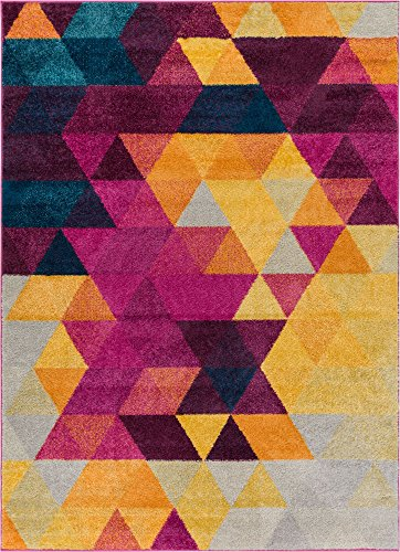 "Well Woven Multi Color 5x7 (5'3"" x 7'3"") Area Rug Geometric Barque Triangles Bright Fuchsia Purple Blue Yellow Vibrant Abstract Triangle Pattern Contemporary Thick Soft Plush"