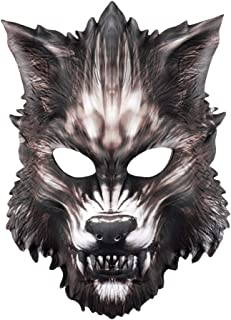 Funnygals - Adults Realistic Fake Aanimal Face Mask Dragon Dog Fox Panda Dinosaur Face Mask Pack Animal Jungle Werewolf Book Week Fancy Dress Facemask