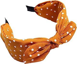 Bodhi2000 - Cerchietto per capelli con fiocco e motivo a pois, per donne e ragazze giallo Yellow