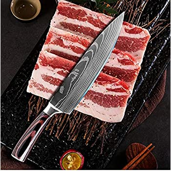 Yushu - Couteau de Cuisine, Couteau Damas, Couteau de Chef Professionnel Japonais, Lame de 20cm en Acier Carbone Inoxydable, Lame tranchante, Poignée Ergonomique antidérapante – Boite Cadeau