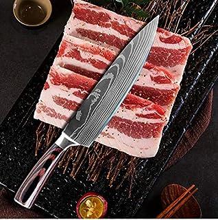 Yushu - Couteau de Cuisine, Couteau Damas, Couteau de Chef Professionnel Japonais, Lame de 20cm en Acier Carbone Inoxydabl...