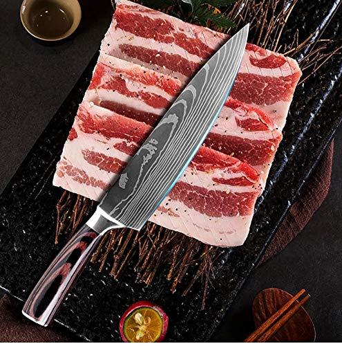 YuShu - Cuchillo de Cocina, Cuchillo Profesional japonés, Cuchillo de Damasco, Hoja de Acero Inoxidable de 20 cm, Hoja Afilada, Mango ergonómico Antideslizante - Gift Box