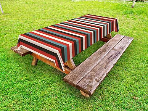 ABAKUHAUS Gestreept Tafelkleed voor Buitengebruik, Vintage jaren '60 Rood Zwart, Decoratief Wasbaar Tafelkleed voor Picknicktafel, 58 x 104 cm, Veelkleurig