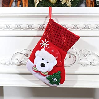 Christmas Socks Decoration Snowflake Candy Gift Bag, Candy Pouch Christmas Stockings Xmas Tree Decorations Hanging Bags