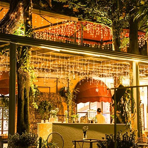 FuYouTa Luces LED de Navidad LED Cortina de Luces Cortina LED Icicle String Light Luces LED de Cuerda de carámbano Cálidas Luces Blancas de Navidad 3 Luces de carámbano Luces de Hadas para Navidad