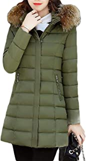 Macondoo Womens Fall Winter Cotton-Padded Quilted Puffer Outwear Hoodie Down Jacket