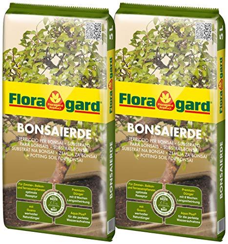 Floragard Bonsaierde 2x5L - Spezialerde für anspruchsvolle Bonsais - mit Tongranulat, Vital-Ton und dem Naturdünger Guano