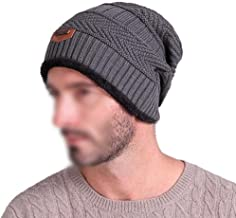 Bullidea Men Thicker Plush Lined Hat Thinsulate Knit Winter Beanie Unisex Knitted Cap Ski Thermal Hat