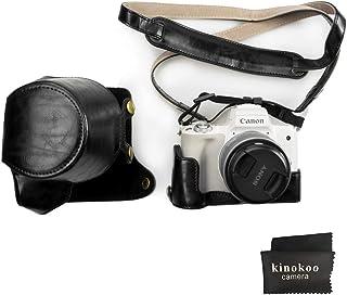 Canon EOS M50 kinokoo Estuche Completo para Canon EOS M50 y Lente de 15-45 mm Estuche Protector de la Funda de Cuero de la PU (Negro)