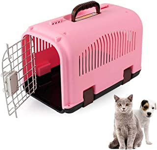 FXQIN Hard Sided Cat Carrier, Plastic Pet Carrier Dog Crate, Travel Kennel for Small Animals, with Handle, Dog Transport Box Airline Approved, Pink
