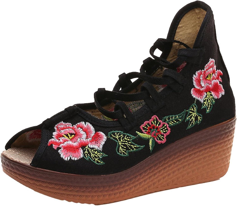 AvaCostume Womens Embroidery Peep-Toe Wedge Lacing Bohemia Sandals