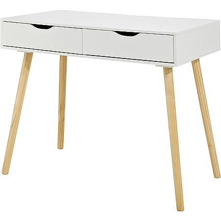 SoBuy FWT40-WN Table de Bureau Informatique Secrétaire Table Plan de Travail avec 2 tiroirs