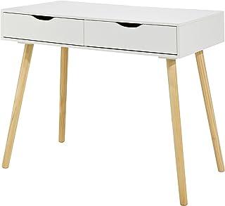 SoBuy FWT40-WN,Mesa de ordenador con 2 cajones,Mesa de escritorio,color blanco,ES