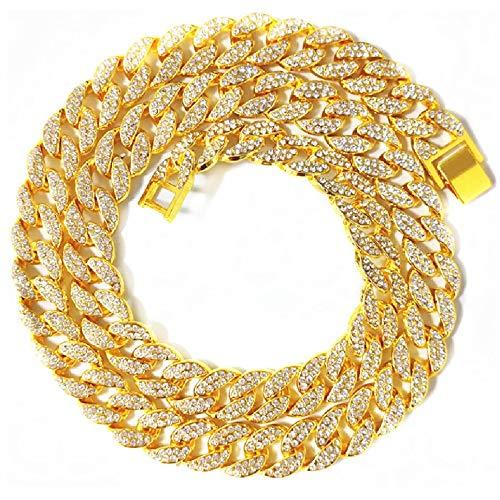 WOIA Collar de Cadena de Diamante Completo Estilo Hip-Hop para Hombre y Mujer Exquisito Collar, Oro, 45 CM