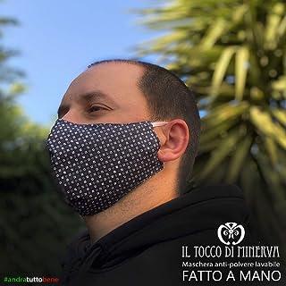Mascherina Uomo Artigianale Anti-polvere Lavabile, Realizzata a Mano in Italia con Tessuti d'Alta Moda, Blu