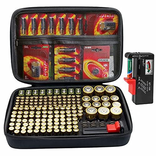 SURDAR Batterie Aufbewahrungsbox Tragetasche Batteriebox - Hält 188 Batterien AA AAA C D 9V - Passend für Tacklife MBT01 Batterietester Akkutester Batterieprüfergerät (L_Holds 188 Batteries)