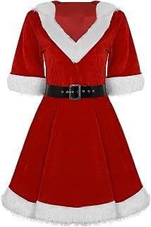 78a6dc63080 dPois Femme Robe À Capuche Noël Velvet Tutu Robe Princesse Deguisement  Costume Cosplay Robe de Dance