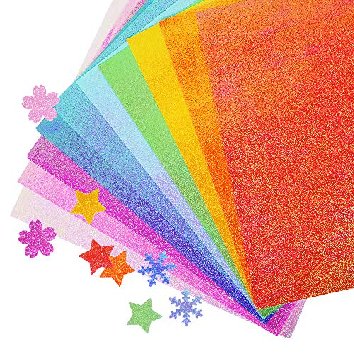 UCEC Glitter Origami Paper, 50 Sheets Colored Origami Sparkly Paper Premium Craft Origami for DIY Puncher Gift Box Wrapping Birthday Party Decor Scrapbook, 10 Colors Not Easy to Break