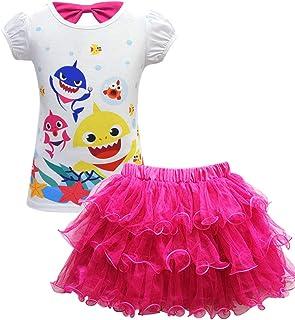 AOVCLKID Toddler Girl Baby Princess Shirt and Skirt Set Shark Cartoon Print Dress