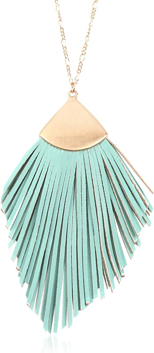 RIAH FASHION Bohemian Genuine Leather & Feather Fringe Tassel Pendant Statement Necklace - Long Chain Real Suede Leaf, Feather Charm