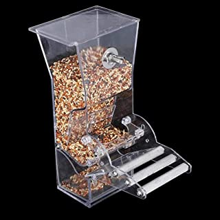 niumanery No Mess Bird Feeder Parrot Integrated Automatic Feeder with Perch Food Container