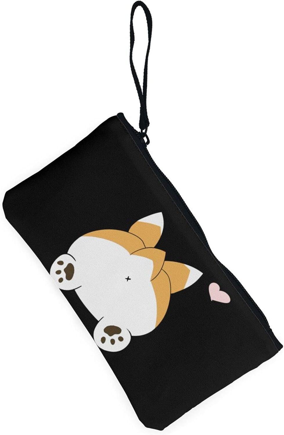 AORRUAM Cute corgi dog butt Canvas Coin Purse,Canvas Zipper Pencil Cases,Canvas Change Purse Pouch Mini Wallet Coin Bag